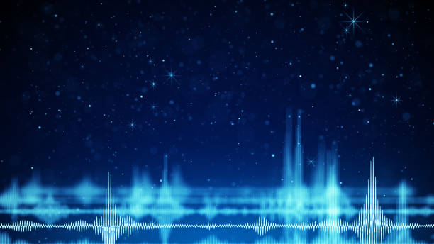 blue audio wave form and sparkles - audio wave stock photos and pictures