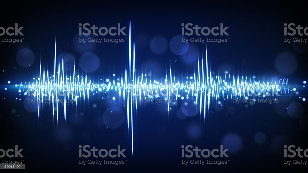 blue audio waveform background stock photo