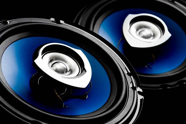 Blue auto speakers stock photo