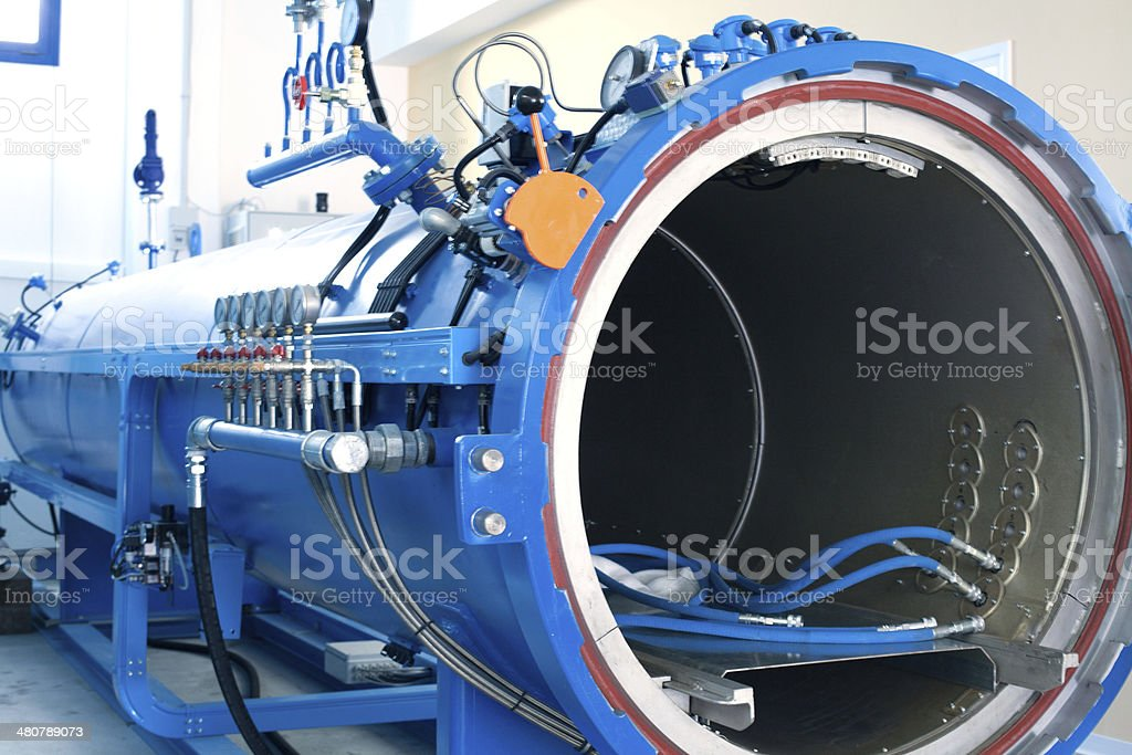 Blue Autoclave stock photo