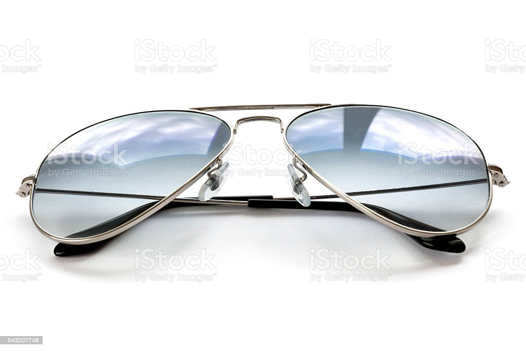 Blue aviator sunglasses on white stock photo