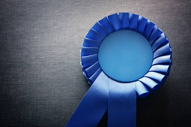 blue award rosette with ribbons and copy space - award ribbon stock photos and pictures
