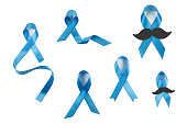 Blue awareness ribbons collection