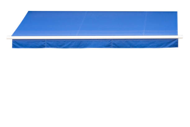 blue awning isolate on white background. blue awning isolate on white background. canopy stock pictures, royalty-free photos & images