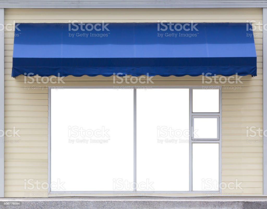 blue awning over glass window of the office stock photo