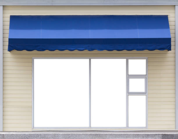 blue awning over glass window of the office blue awning over glass window of the office awning stock pictures, royalty-free photos & images