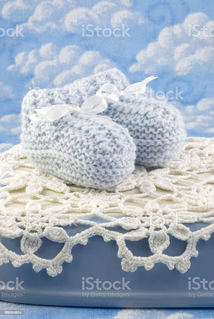 Blue Baby Booties for Boy royalty-free stock photo