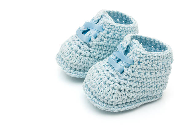 Blue Baby Booties stock photo