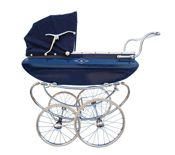 Blue baby carriage with chrome finish stock photo
