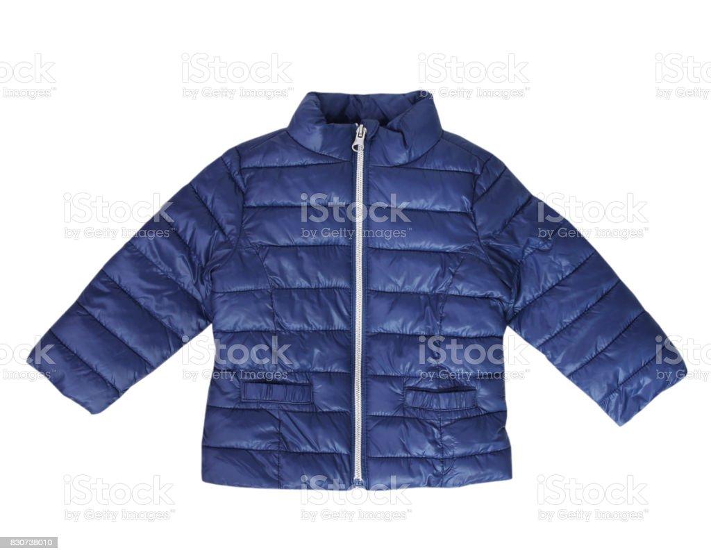 Blue baby coat child fashion wear isolated nobody. stock photo