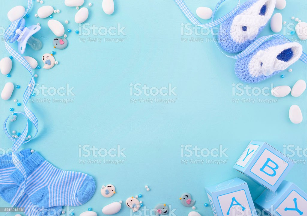 Blue Baby Shower Nursery Background stock photo
