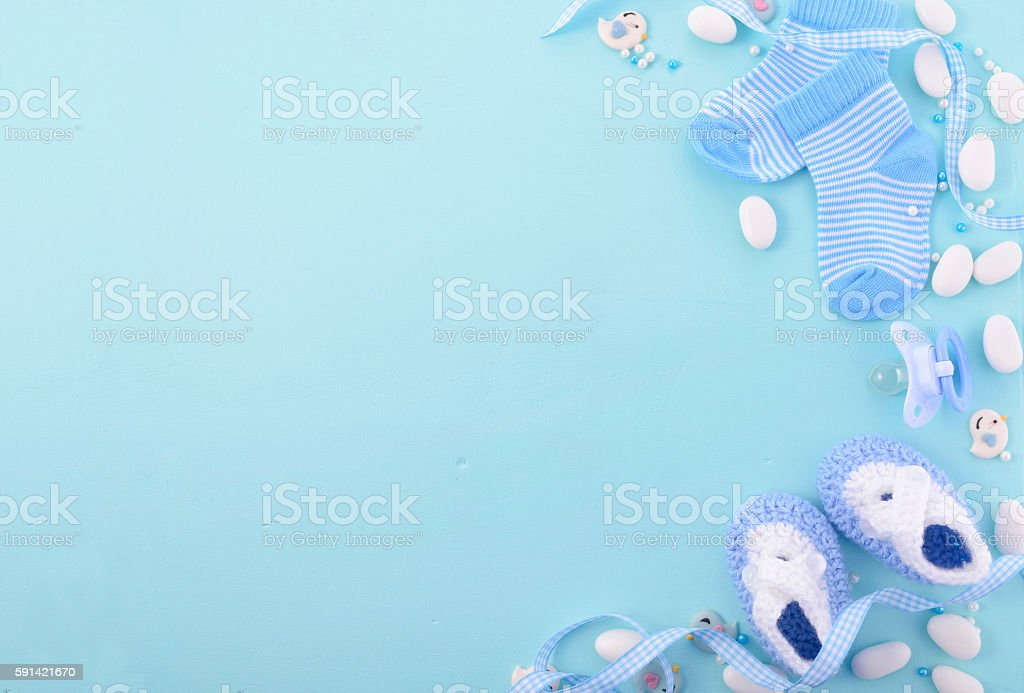 Blue Baby Shower Nursery Background - foto stock