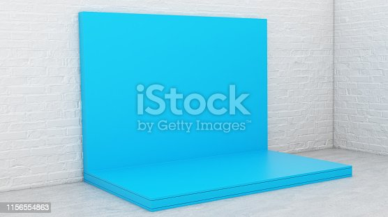 1089180420istockphoto Blue Backdrop Stage in Room 1156554863