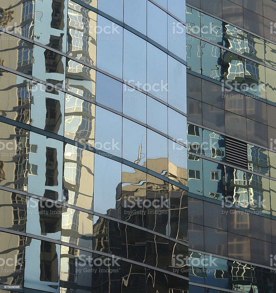 Blue background building reflections royalty-free stock photo