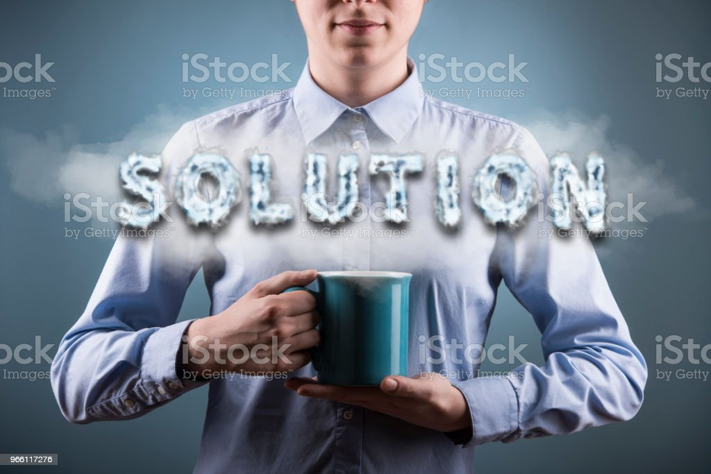 SOLUTION / Blue background concept (Click for more) - Royalty-free Adult Stock Photo