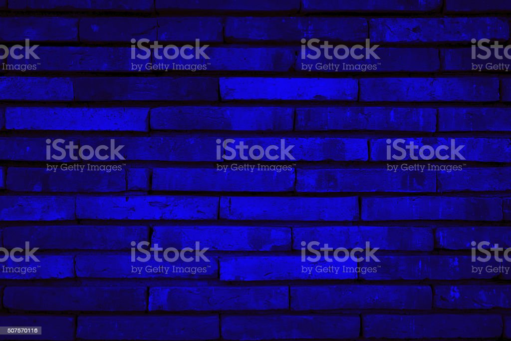 Blue Background of old vintage brick wall stock photo
