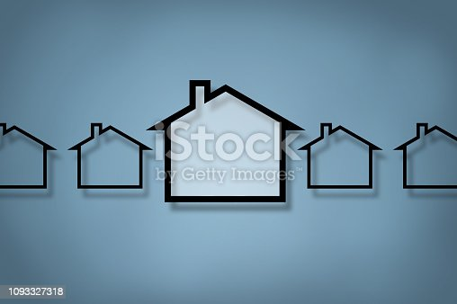 istock HOUSE CONCEPT / Blue background (Click for more) 1093327318