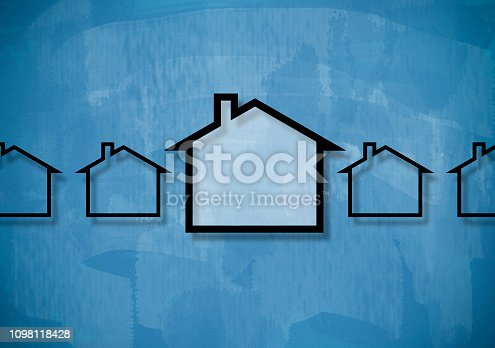 istock HOUSE CONCEPT / Blue background (Click for more) 1098118428