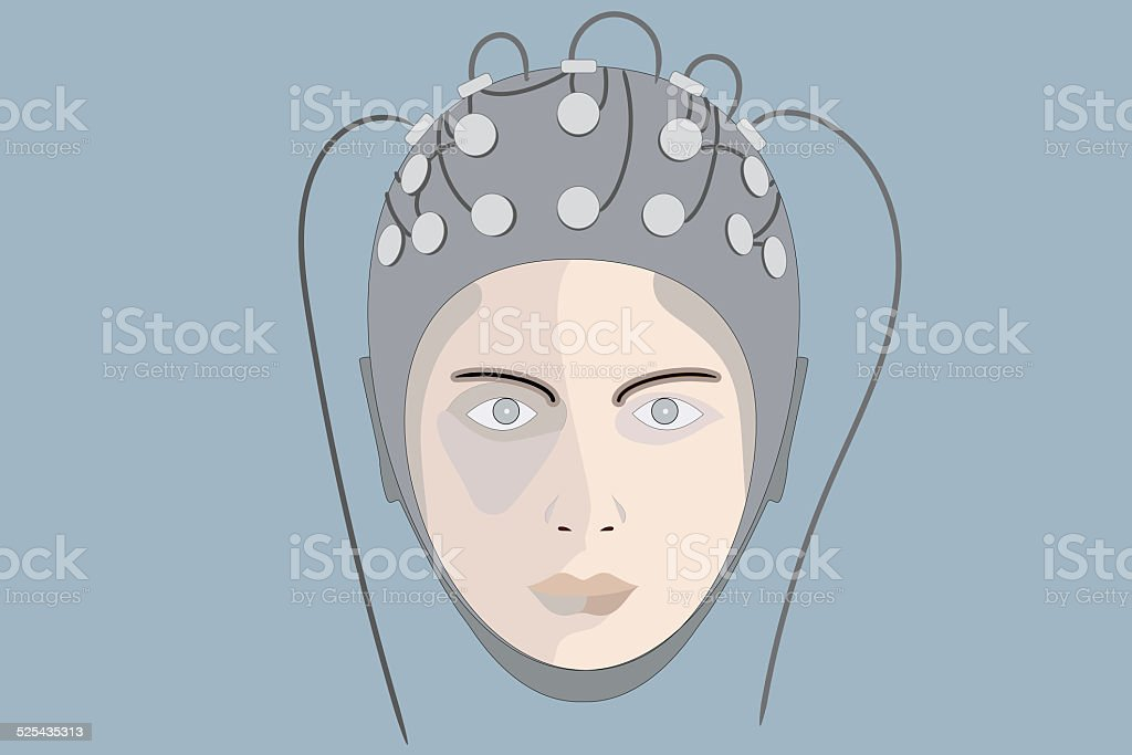 EEG, blue background stock photo