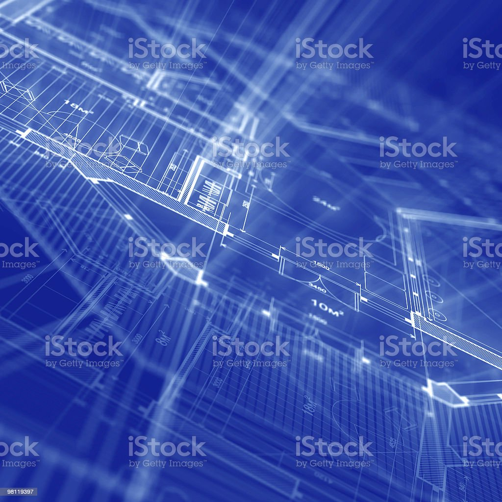 A blue background with a blueprint of a house royalty-free stock photo