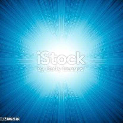 istock Blue background with bright rays come from inside 174359149