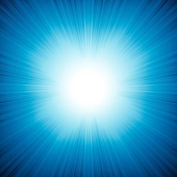 Blue background with bright rays come from inside stock photo
