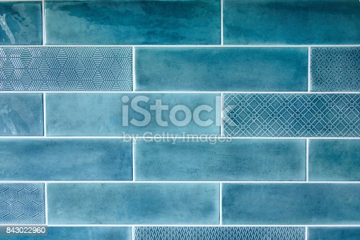 istock Blue background with ceramic tiles 843022960