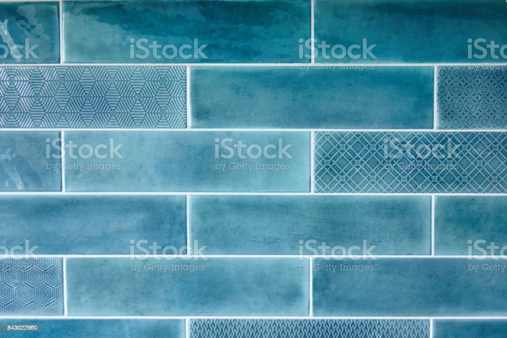 Blue background with ceramic tiles stock photo