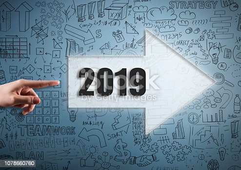 istock NEW YEAR 2019 / Blue background with charts and diagrams (Click for more) 1078660760