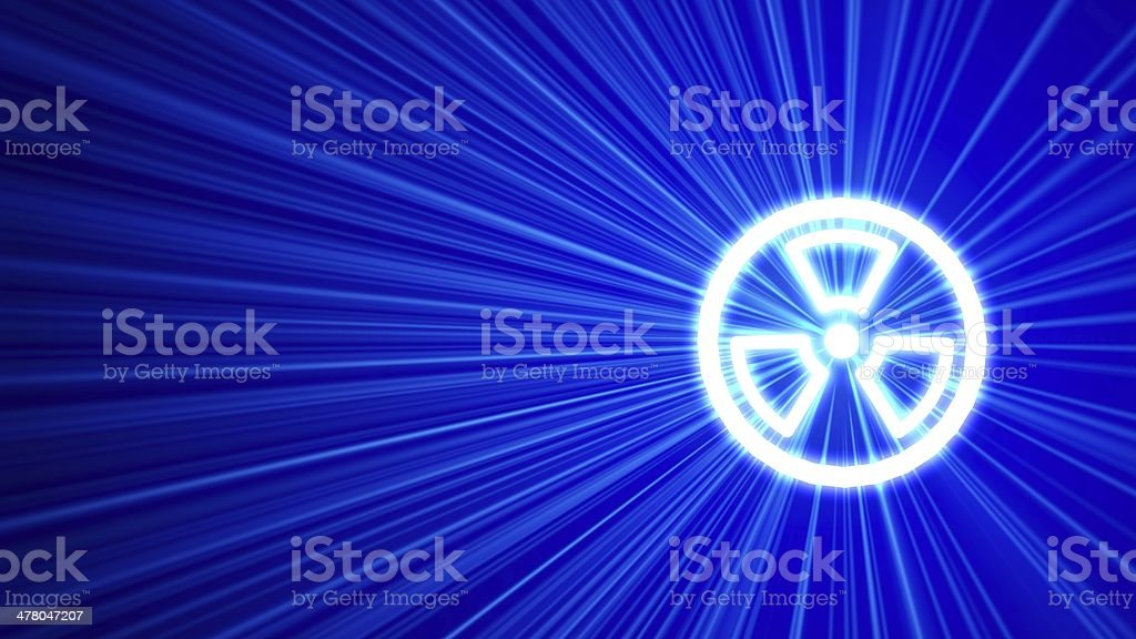 3D blue background with radiation icon royalty-free stock photo