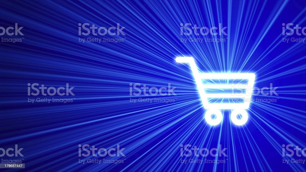 3D blue background with shopping cart icon royalty-free stock photo