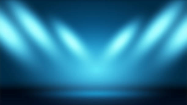Blue background with show lights. Spotlight. Scene Illumination. Light Effect Blue background with show lights. Spotlight. Scene Illumination. Light Effect. stage performance space stock pictures, royalty-free photos & images