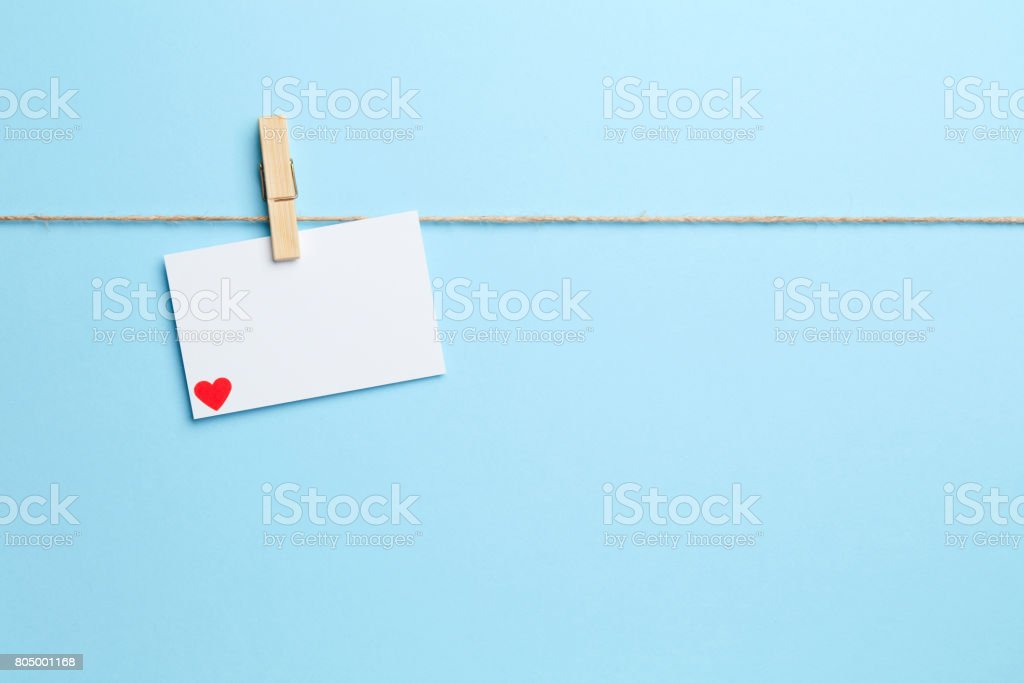 Blue background with white love letter stock photo