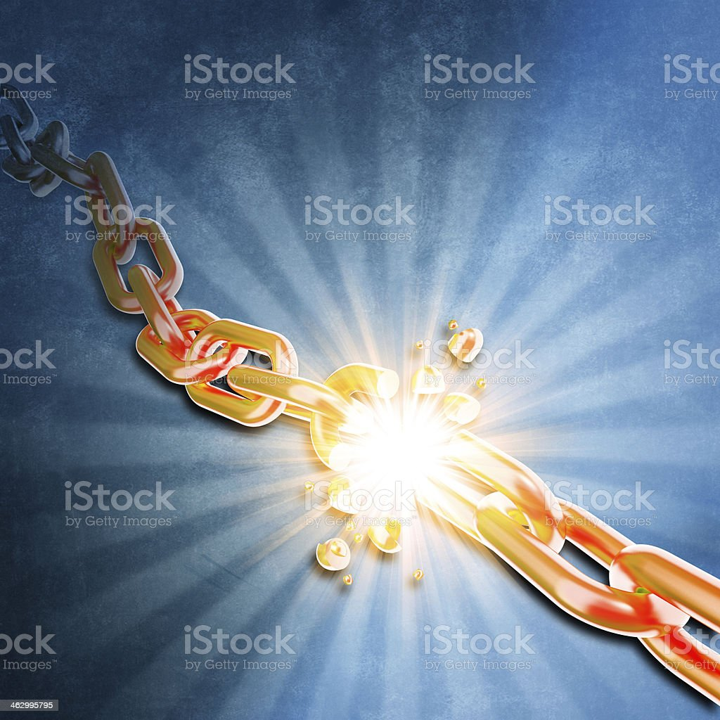 Blue background with yellow chain exploding in the center stock photo