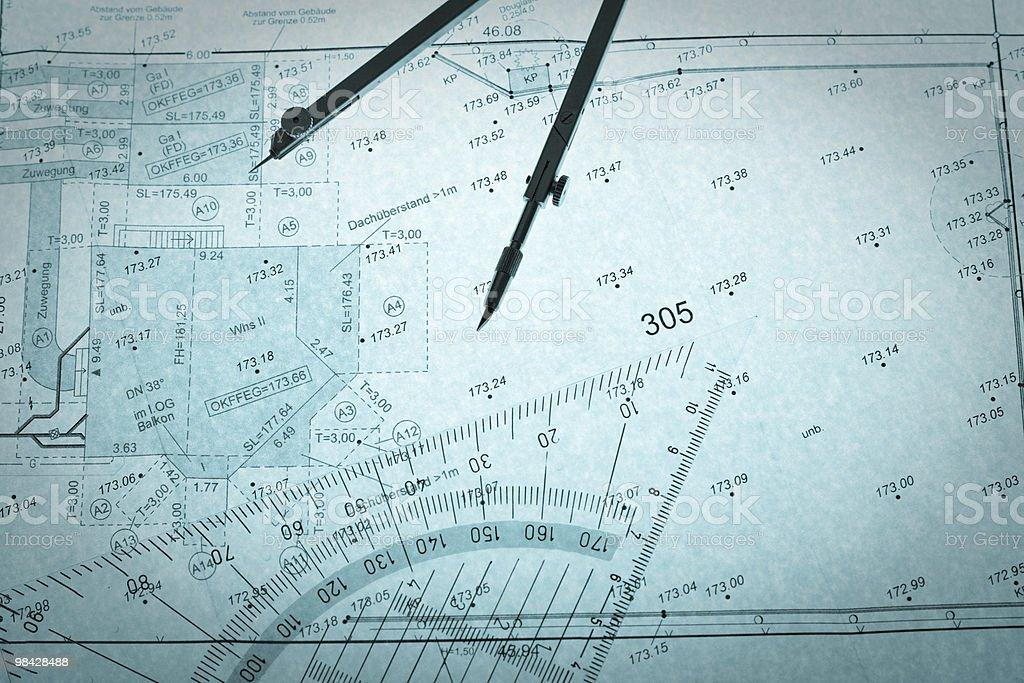 blue backlit surveyor's plan, circle and set square royalty-free stock photo
