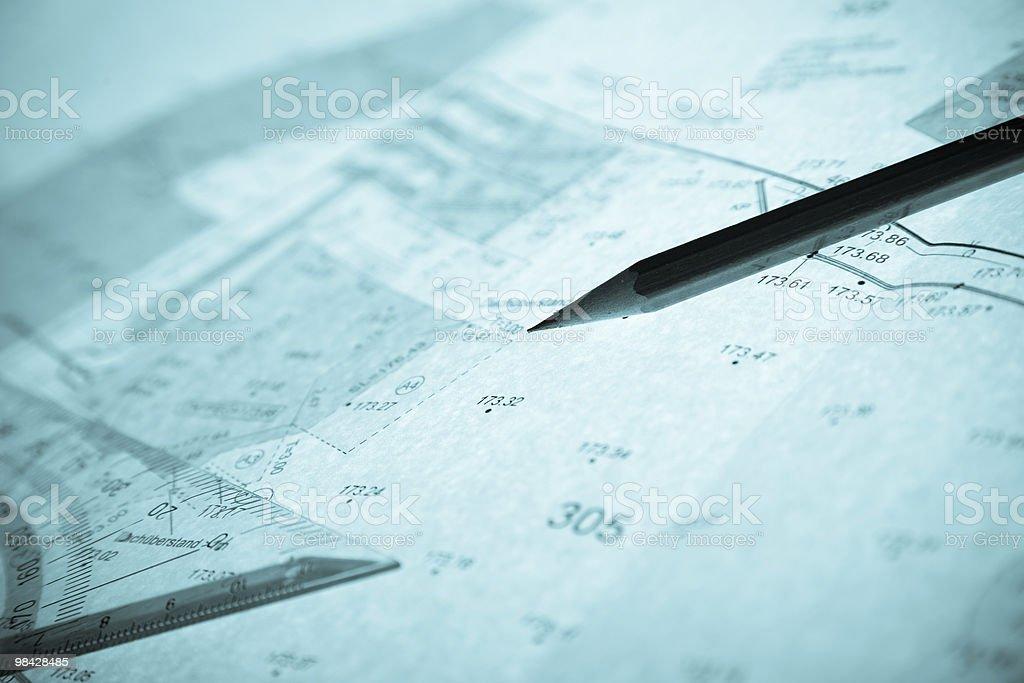 Retroilluminato blu Perito del piano, matita e squadra foto stock royalty-free