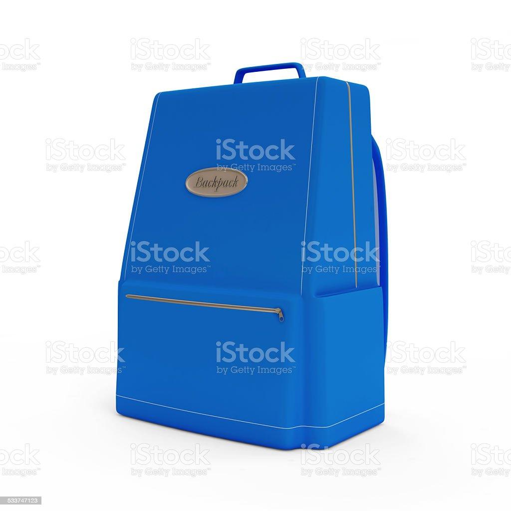 Blue Backpack isolated on white background stock photo