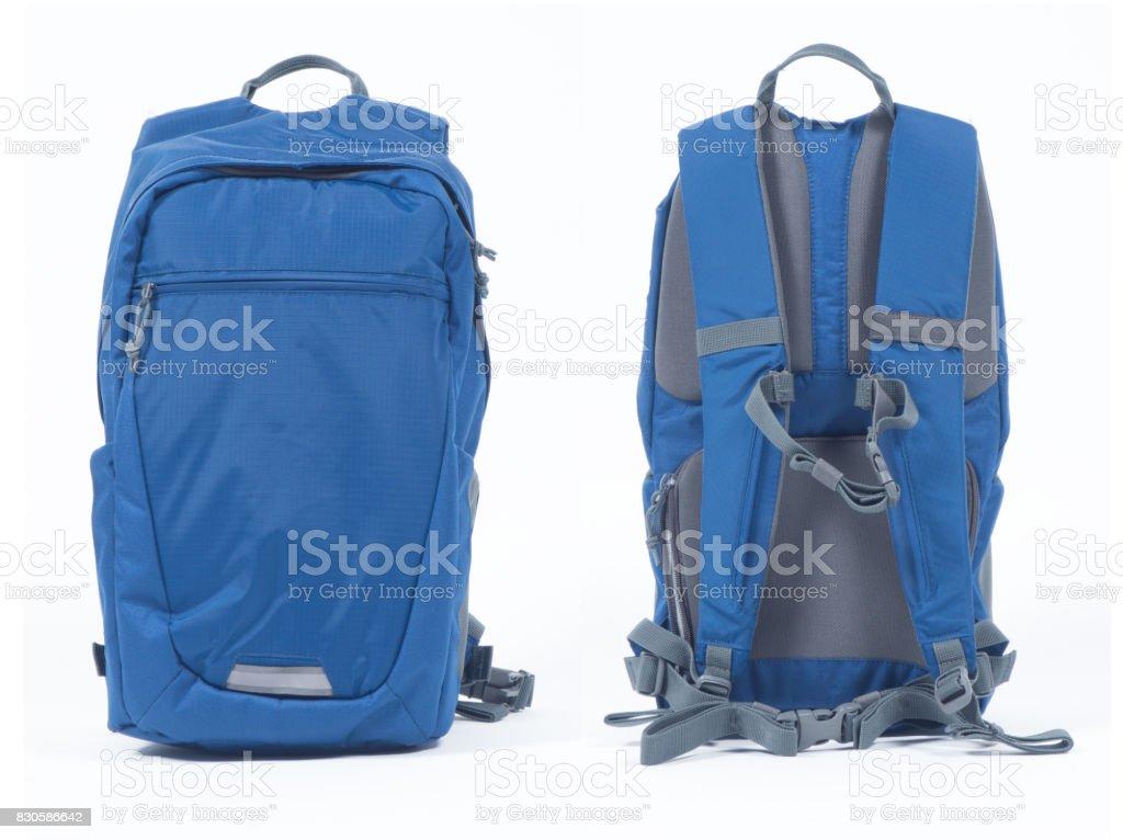 Blue backpack on white background stock photo
