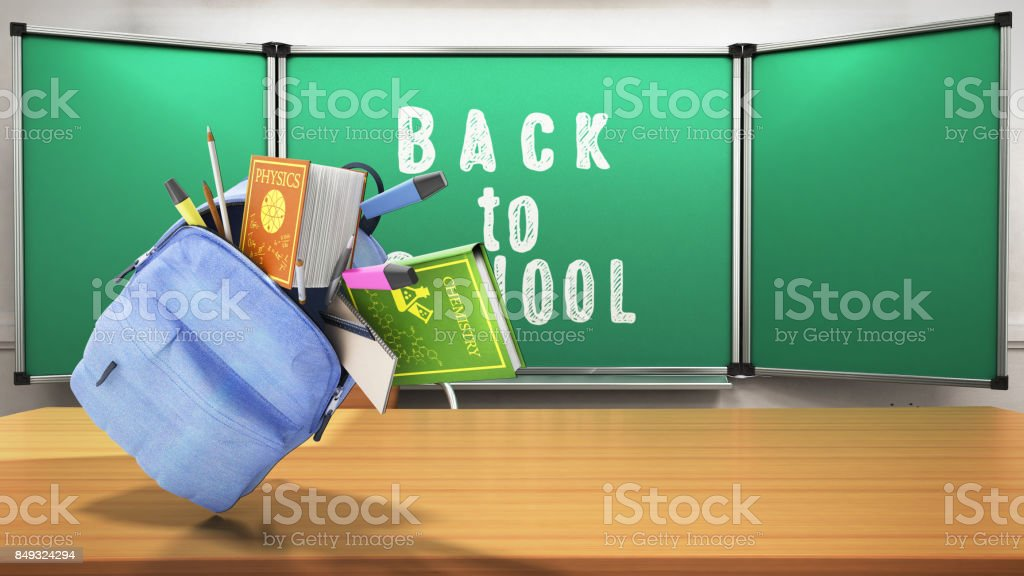 Blue backpack with school supplies 3d render back to school background stock photo