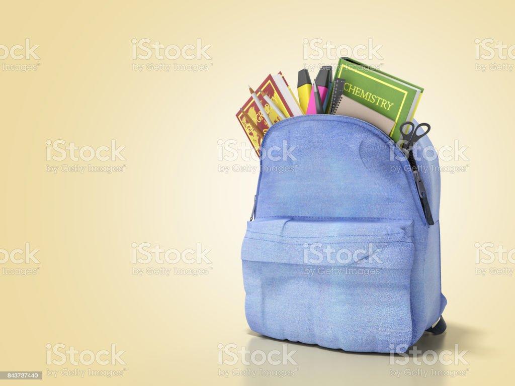 Mochila azul com escola fornece renderização 3d em azul - foto de acervo
