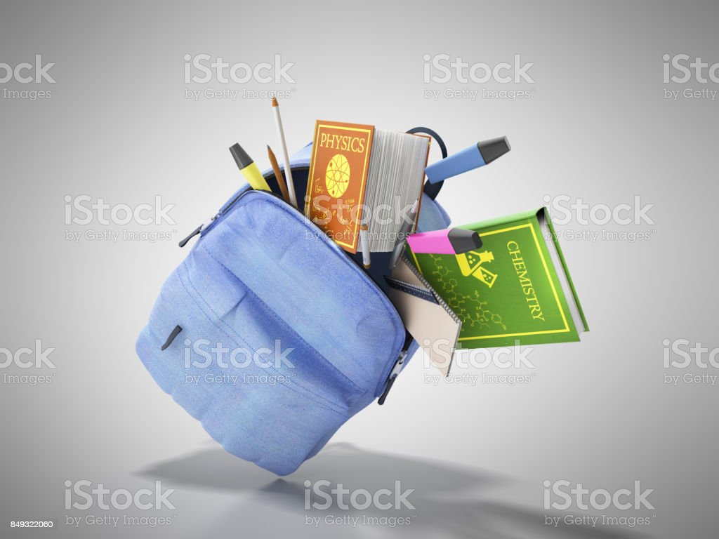 Blue backpack with school supplies 3d render on blue stock photo