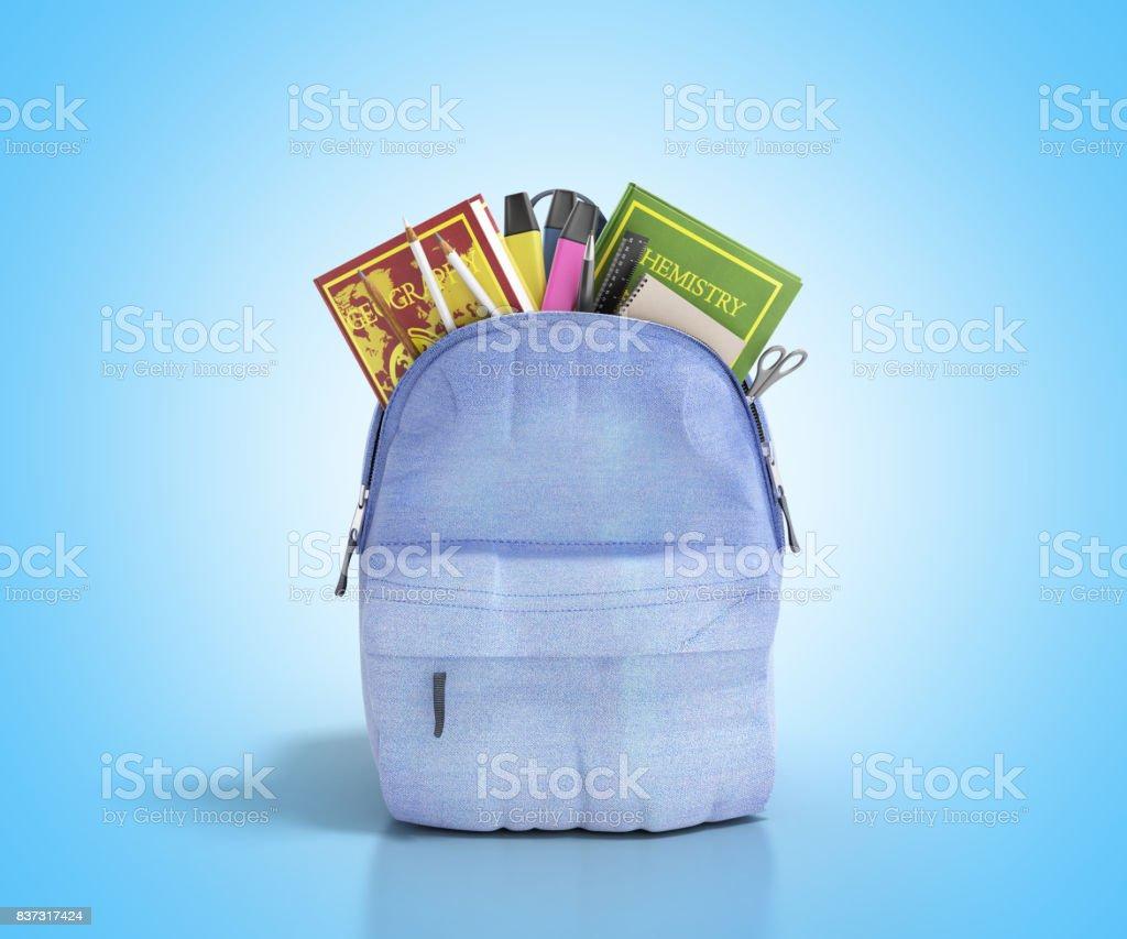 Mochila azul com escola fornece renderização 3d em branco - foto de acervo