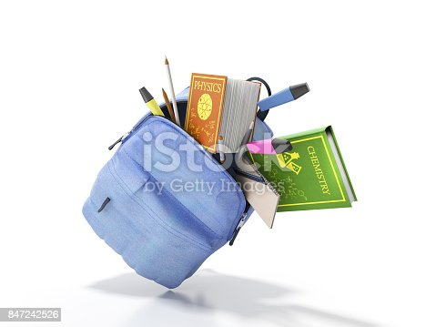 istock Blue backpack with school supplies 3d render on white 847242526