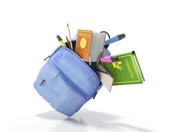 Blue backpack with school supplies 3d render on white stock photo