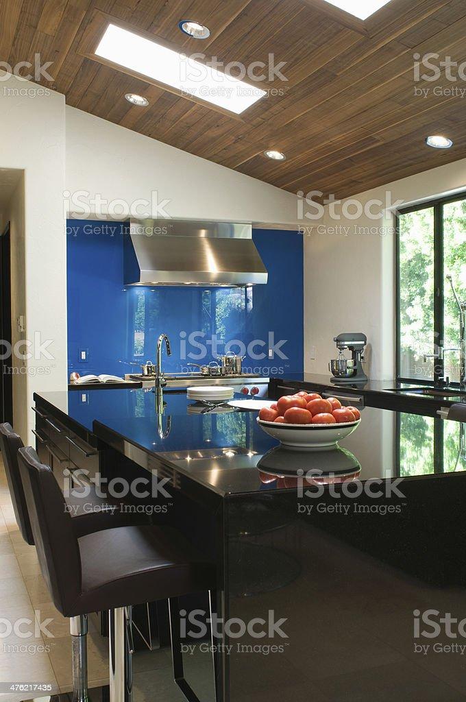 Blue Backsplash In Modern Kitchen stock photo