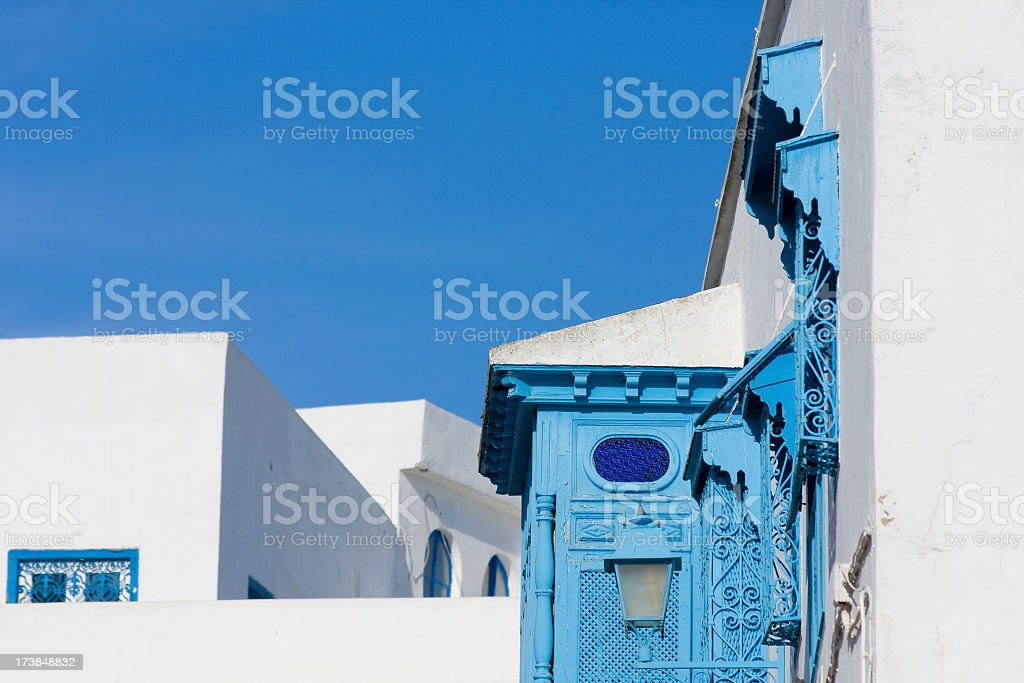 blue balconies in white walls royalty-free stock photo