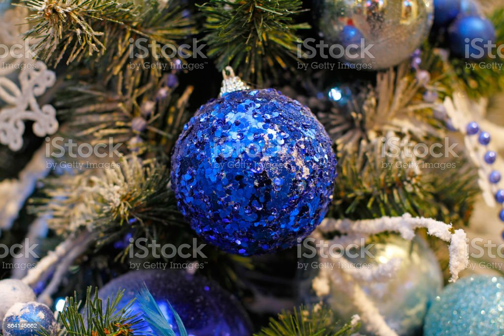 Blue ball hanging on a branch royalty-free stock photo