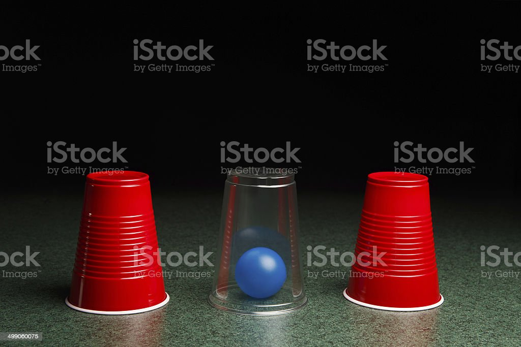 Blue Ball Hidden Under Clear Cup - Royalty-free Assistance Stock Photo