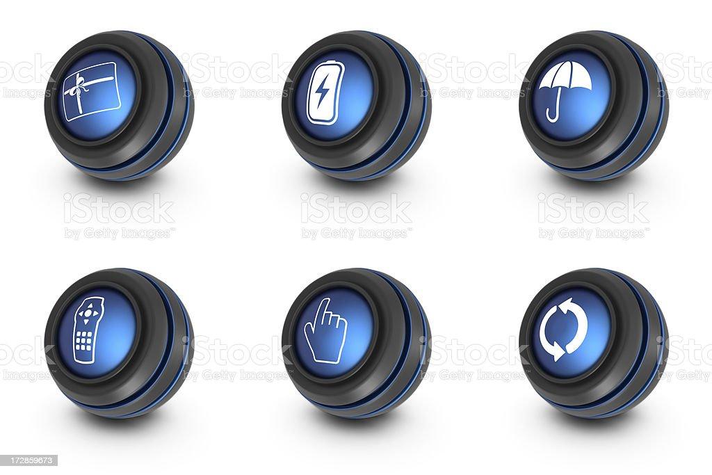 blue ball icons - mixed royalty-free stock photo