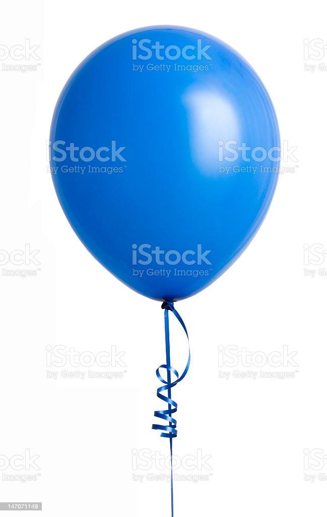 Blue balloon on a white background stock photo